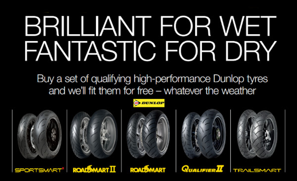 £30 off a pair of Dunlop motorcycle tyr
