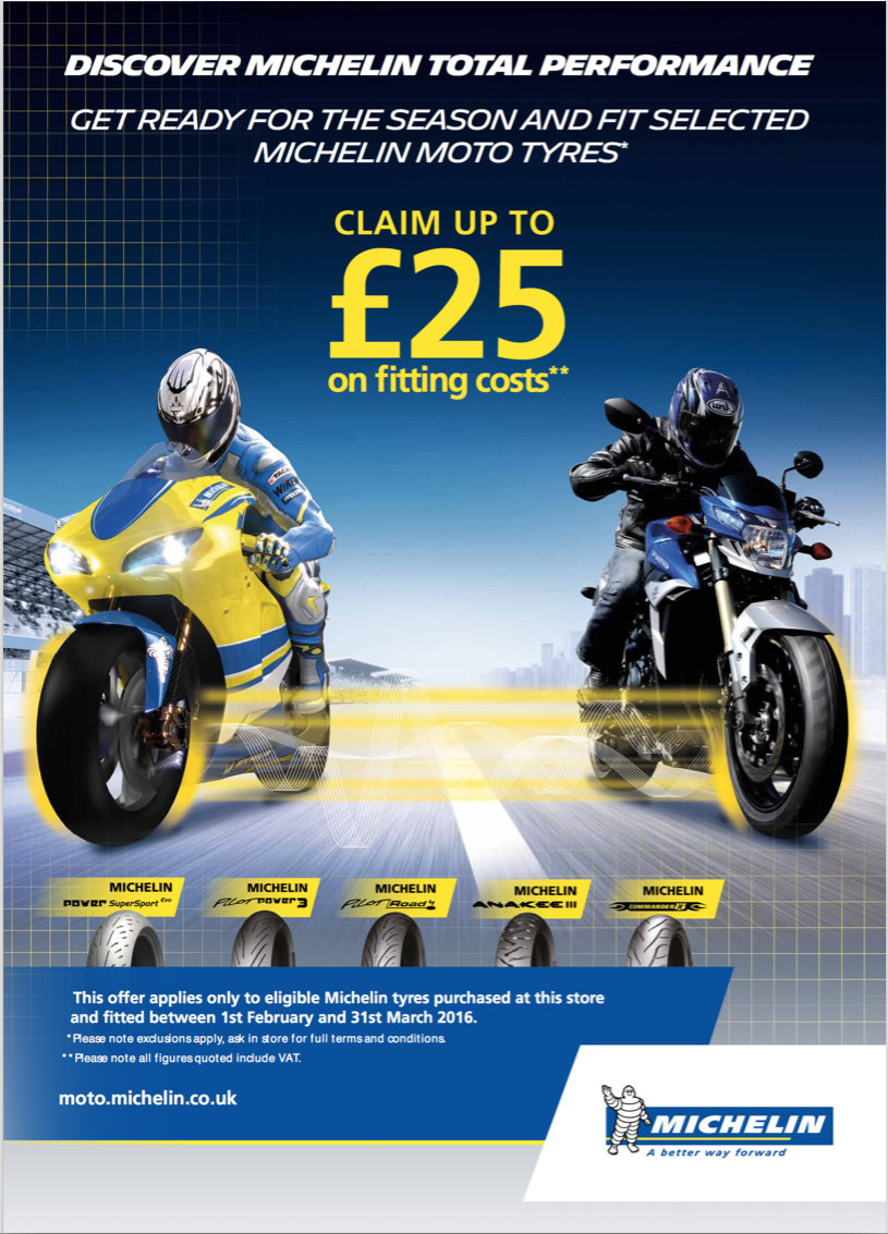 Michelin Motorcycle Tyres Claim Up To £