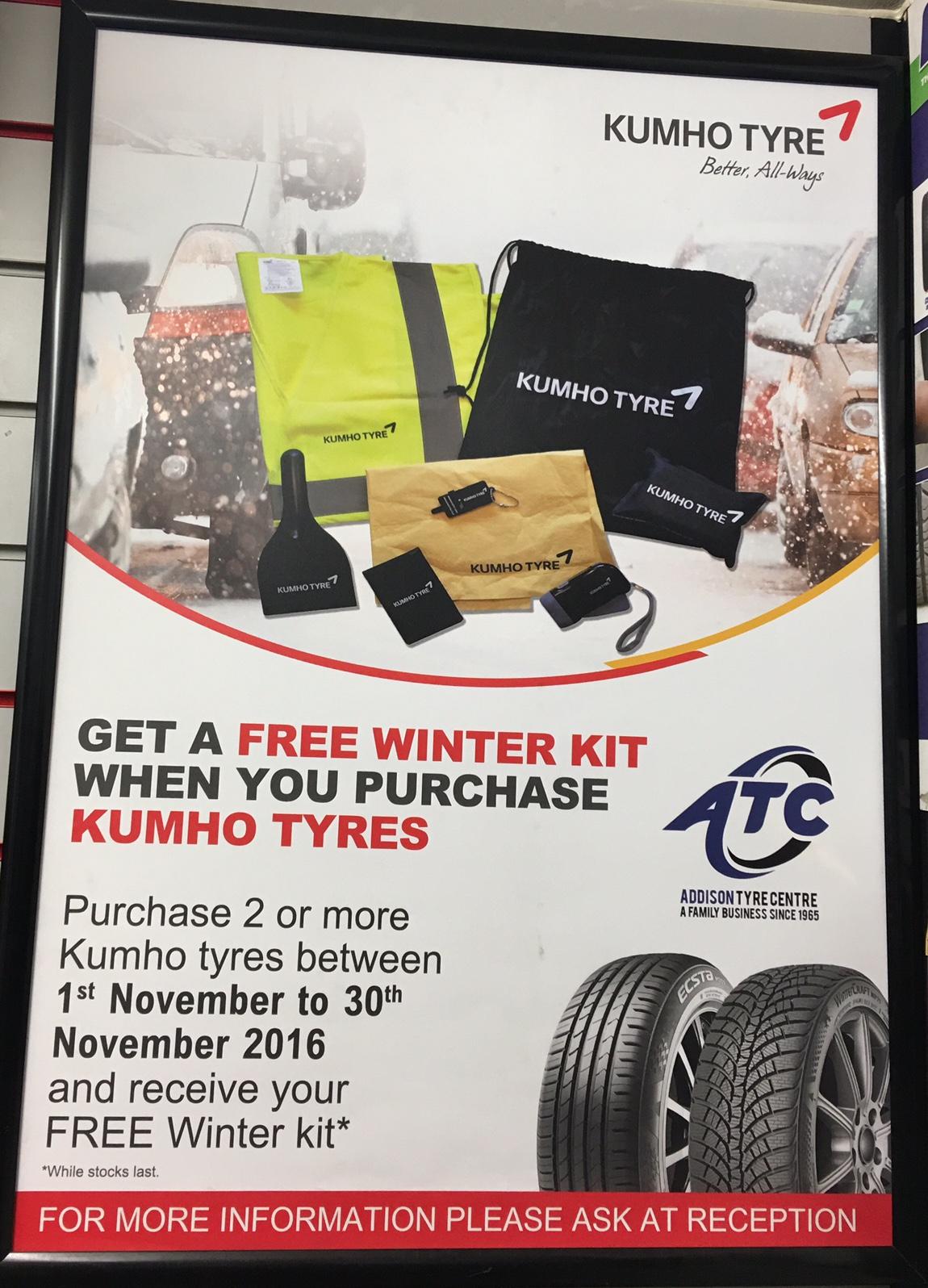 Kumho free winter kit while stocks last