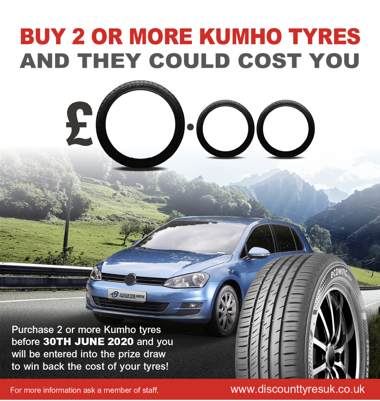 Buy 4 Kumho tyres and enter our prize dr