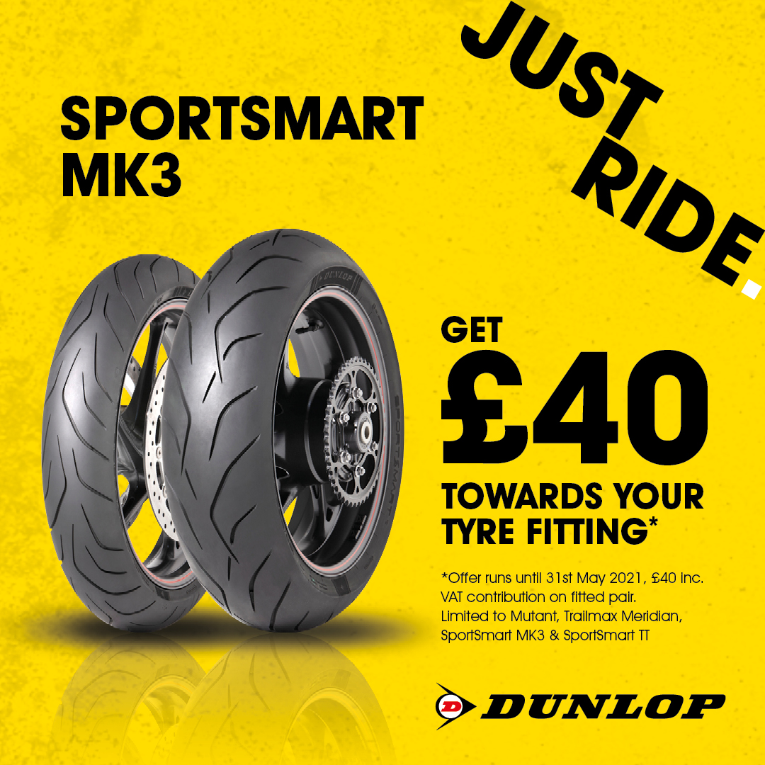 Dunlop Motorcycle tyres promotion get £
