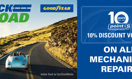 Buy 2 Goodyear tyres and claim a 10% off